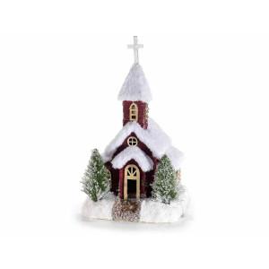 Decoratiune Biserica din polistiren rosu alb verde 19x18x33 cm