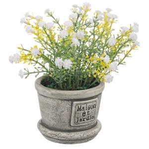 Flori artificiale albe in ghiveci ceramica Maison Ø8x15h