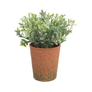 Flori artificiale verzi in ghiveci maro Ø8x16h