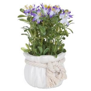 Flori artificiale mov in ghiveci ceramica alba Ø 9 cm x 17 h