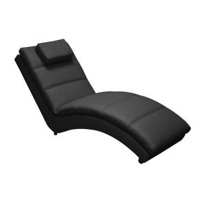Pat de zi picioare lemn negru tapitat cu piele ecologica neagra Yvonne 172 cm x 62 cm x 85 h x 35 h1