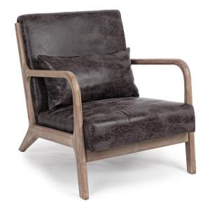 Fotoliu tapiterie piele ecologica maro cu aspect vintage picioare lemn Ancilla 66 cm x 85 cm x 74 h