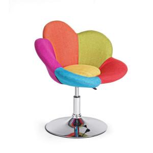 Fotoliu cu picior crom argintiu si tapiterie textil multicolor Fleur 67.5 cm x 50 cm x 69.5/81 h x 42/52 h1