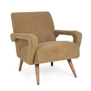 Fotoliu cu tapiterie din textil pufos maro si picioare lemn Berna 65 cm x 79 cm x 74 h x 45 h1 x 54 h2