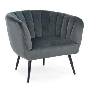Fotoliu cu tapiterie din catifea gri si picioare din fier negru Avril 78 cm x 71 cm x 69 h