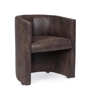 Fotoliu cu tapiterie din piele ecologica maro si cadru din lemn Corfu 62 cm x 58 cm x 74 h
