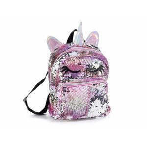 Ghiozdan cu paiete reversibile negre roz argintii Unicorn 22 cm x 13 cm x 25 / 30.5 h