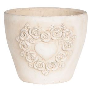 Ghiveci pentru flori ceramica crem Ø 17 cm x 17 H