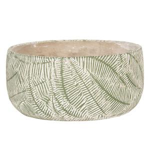 Ghiveci pentru flori ceramica verde alb  Ø 22 cm x 10 H