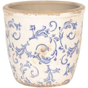 Ghiveci pentru flori ceramica alb albastru Elegance Ø 12 cm x 12 H
