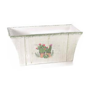 Ghiveci pentru flori ceramica alba model Cactusi cm 24 cm x 13 cm x 11 H