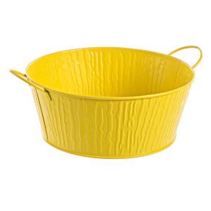 Ghiveci pentru flori metal galben Ø 33 cm x 13h
