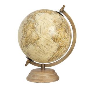 Glob pamantesc decorativ din fier auriu lemn plastic 21 cm x 21 cm x 30  h