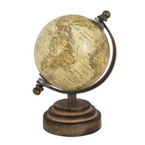 Glob pamantesc decorativ din fier auriu lemn plastic 8 cm x 8 cm x 13 h
