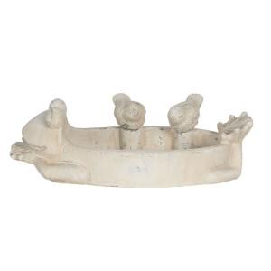 Bol hranire pasari din ceramica gri 30 cm x 20 cm x 11 h