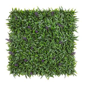 Panou plante verzi si lavanda artificiala 50 cm x 50 cm