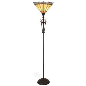 Lampadar cu baza din polirasina maro si abajur sticla Tiffany Ø 36 cm x 175 h