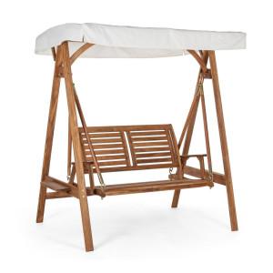 Leagan de gradina 2 locuri din lemn maro si copertina alba Noemi 185 cm x 112 cm x 188 h x 46 h1 x 68 h2