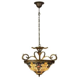 Lustra din fier culoarea cupru si abajur din sticla Tiffany Ø 56 cm x 55 / 170 h