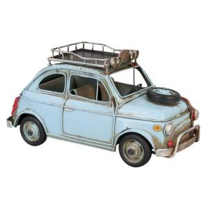Macheta masina Retro din metal albastru 27 cm x 12 cm x 13 h