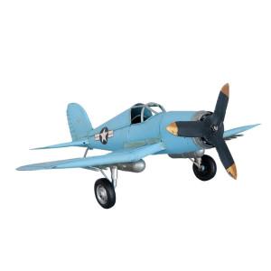 Macheta Avion Retro din metal albastru 47 cm x 34 cm x 15 h