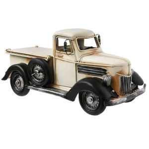 Macheta Camioneta Retro cu pusculita si rama foto din metal crem 26 cm x 12 cm x 13 h