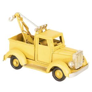 Macheta Camioneta Retro din metal galben 12 cm x 5 cm x 6 h