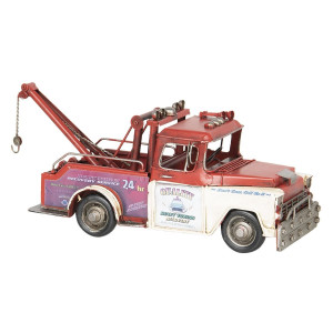 Macheta Camion Retro din metal rosu 31 cm x 11 cm x 15 h