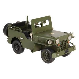 Macheta Jeep Retro din metal rosu 17 cm x 9 cm x 9 h