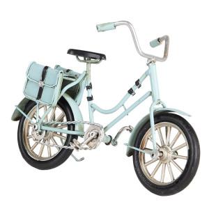 Macheta Bicicleta Retro din metal albastru 16 cm x 5 cm x 10 h