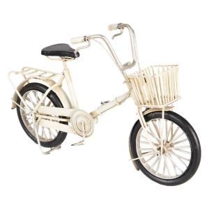 Macheta Bicicleta Retro din metal alb 23 cm x 6 cm x 15 h
