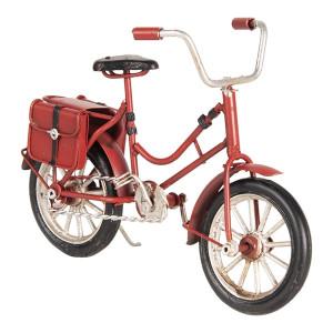 Macheta Bicicleta Retro din metal rosu 16 cm x 5 cm x 10 h