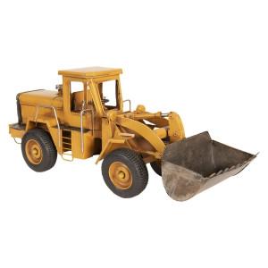 Macheta Excavator Retro din metal galben 16 cm x 6 cm x 10 h