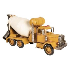 Macheta Camion Retro cu betoniera din metal galben 37 cm x 12 cm x 17 h