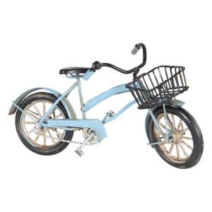 Macheta Bicicleta Retro din metal albastru antichizat 16 cm x 5 cm x 9 h
