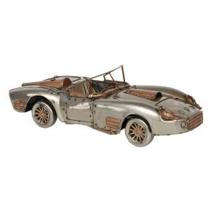 Macheta masina Retro din metal argintiu 31 cm x 11 cm x 19 h