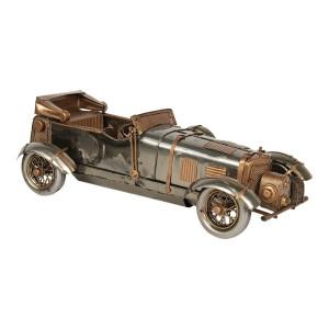 Macheta masina Retro din metal argintiu 33 cm x 13 cm x 10 h