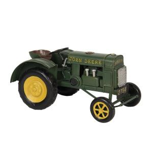 Macheta Tractor Retro din metal verde 18 cm x 9 cm x 9 cm