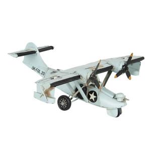 Macheta Avion Retro din metal alb antichizat 28 cm x 24 cm x 10 h