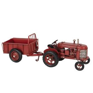 Macheta Tractor Retro cu remorca din metal rosu 17 cm x 9 cm x 10 h/ 17 cm x 10 cm x 10 h