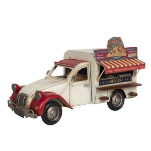 Macheta Camioneta Retro Street Food din metal rosu crem 32 cm x 15 cm x 19 h