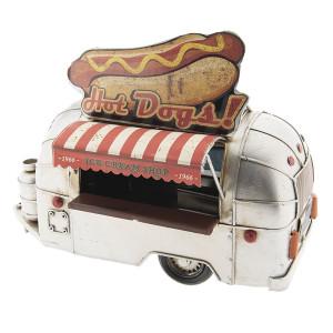Macheta Camioneta Retro Street Food din metal rosu crem 24 cm x 14 cm x 19 h
