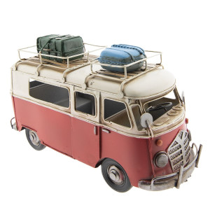 Macheta Autobuz Retro din metal rosu crem 27 cm x 16 cm x 11 h