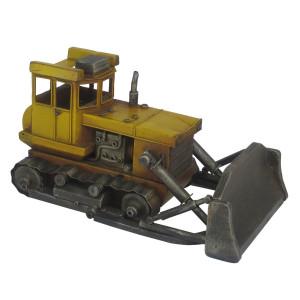 Macheta Buldozer Retro din metal galben negru 33 cm x 19 cm x 17 h