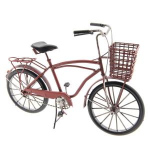 Macheta Bicicleta Retro din metal rosu 32 cm x 12 cm x 20 h
