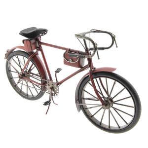 Macheta Bicicleta Retro din metal rosu 28 cm x 7 cm x 16 h