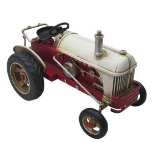 Macheta Tractor Retro din metal rosu crem 16 cm x 10 cm x 11 h
