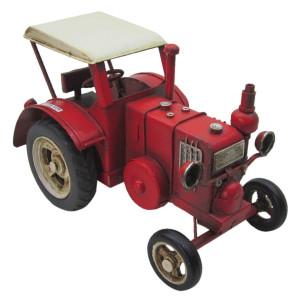 Macheta Tractor Retro din metal rosu 17 cm x 9 cm x 10 h
