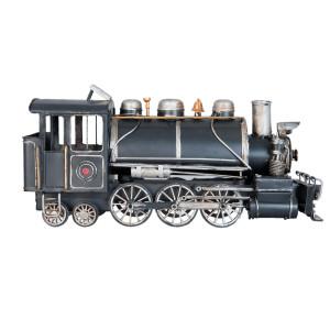 Macheta locomotiva tren retro metal negru 34 cm x 12 cm x 17 h