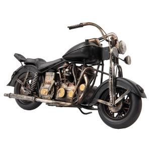 Macheta motocicleta retro metal neagra 35 cm x 13 cm x 20 h